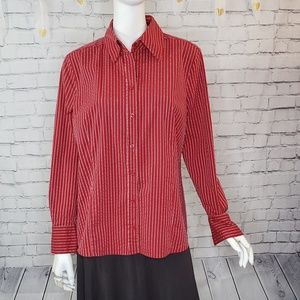 Apostrophe Red and Silver Striped Button Down